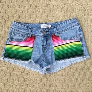 YOUNG & FADED Denim Cut Off Shorts -Serape Detail